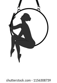 Air yoga - silhouette - woman sits on a hoop - isolated on white background -  vector