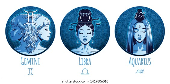 Air zodiac set, beautiful girls, Gemini, Libra, Aquarius, horoscope symbol, star sign, vector illustration