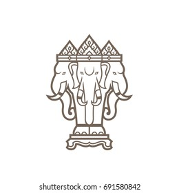 Airavata's illustration. a mythological white three heads elephant who carries the Hindu god Indra. isolated objects on white background.