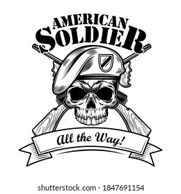 Airborne forces soldier vector illustration. Skull in beret with crossed riffles and the way text. Military or army concept for emblems or tattoo templates