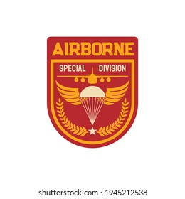 Airborne special division isolated military chevron, parachuting skydiving aviation forces patch on uniform isolated. Vector shield with parachute on eagle wings, olive branches and military plane