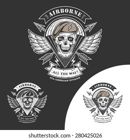Airborne vector emblem with skull, arrows, wings and parachute.