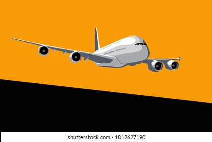 Airbus A380. Commercial jet airliner in the dawn sky. Vector drawing for illustrations.
