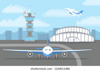 Aircarft standing on the landing strip in front of the airport. Travel and tourism. Flat vector illustration