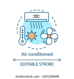 Air-conditioned concept icon. Cooling system. Ventilation. Air conditioner, cooler. Hotel amenity idea thin line illustration. Vector isolated outline drawing. Editable stroke