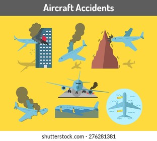 Aircraft accidents icons set