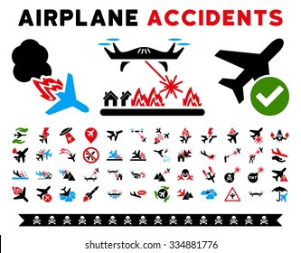 Aircraft Accidents Vector Icon Clipart. Here are air plane crashes, terrorist activity, war copters, airport control.