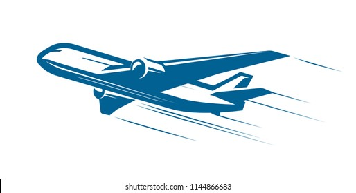 Aircraft, airplane, airline logo or label. Journey, air travel, airliner symbol. Vector illustration