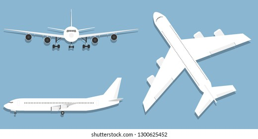 Aircraft, airplane, airliner in different point of view vector. Flying airplane, jet aircraft, airliner. Top, front, side, 3d perspective view of detailed passenger air plane isolated.