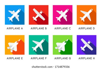 Aircraft or Airplane Flat Minimal Square Icons Set Collection Vector Silhouette