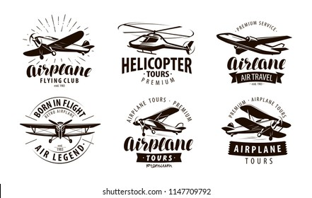 Aircraft, airplane, helicopter logo or icon. Transport label set. Vector illustration
