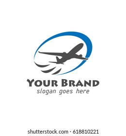 Aircraft or airplane logo with blue swoosh for travel company
