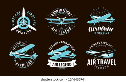 Aircraft, airplane logo or label. Airline symbol. Vector illustration
