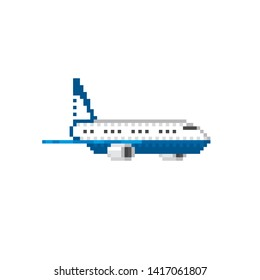 Aircraft. Airplane. Mail plane. Pixel art. Old school computer graphic. 8 bit video game. Game assets 8-bit sprite.