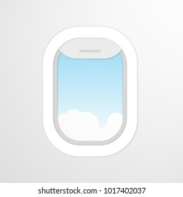 Aircraft, airplane windows with cloudy blue sky outside. Travel or tourism concept. Vector illustration in flat style. EPS 10.