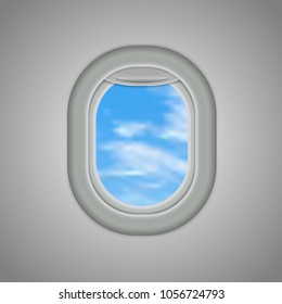 Aircraft, airplane windows with cloudy blue sky outside. Vector illustration