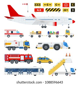 Aircraft and Airport transportation vector flat material design set. Fire engine, ladder on wheels, automotive fuel, passenger bus, ambulance, road signs isolated illustration on white.