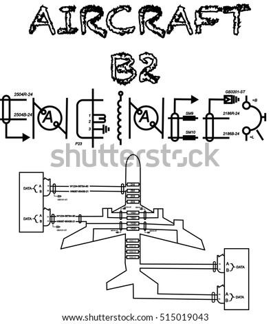 aircraft b2 engineer text wiring 450w 515019043 aircraft b 2 engineer text wiring diagram stock vector (royalty free