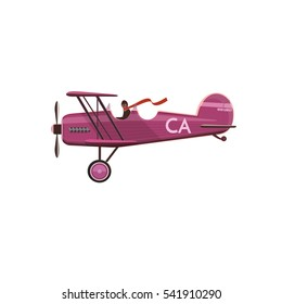 Aircraft. Biplane icon, cartoon, style, flat