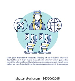 Aircraft cabin article page vector template. Passengers and flight attendant. Brochure, booklet design element with linear icons and text boxes. Print design. Concept illustrations with text space