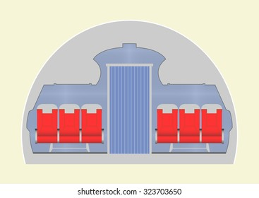 Aircraft cabin. Vector illustration. EPS 10, opacity