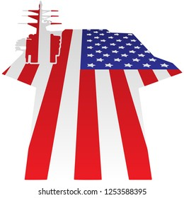 Aircraft Carrier Flight Deck American Flag Vector Illustration, symbol of U.S. strength, patriotism and military might
