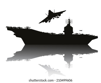 Aircraft carrier and flying aircraft detailed silhouettes. Vector EPS10