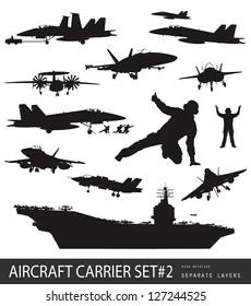 Aircraft carrier high detailed silhouettes set#2. Vector