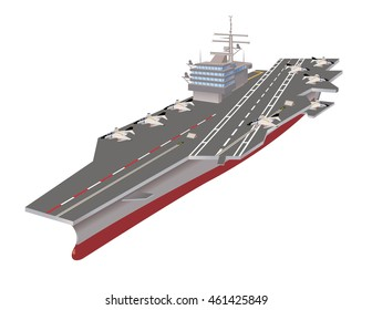 Aircraft carrier with jets on deck, vector illustration.
