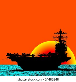 Aircraft Carrier Sailing The Ocean With Sunset Behind -Vector-
