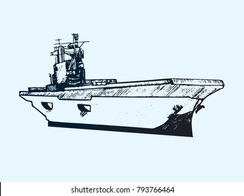 Aircraft carrier typical, hand drawn doodle sketch, isolated vector outline illustration