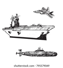 Aircraft carrier typical with Military airplane Raptor on board and fly over and submarine under, hand drawn doodle sketch, isolated vector outline army collection illustration