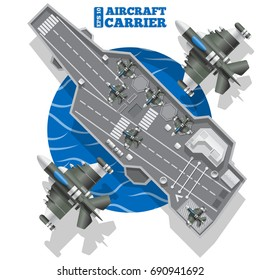 Aircraft carrier. View from above. Vector illustration.
