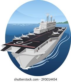Aircraft carrier war battle warship vector cartoon illustration