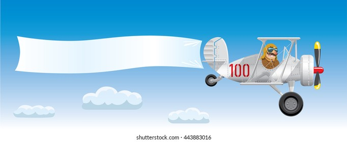 Aircraft in the cartoon style. Plane is flying against the blue sky. White blank banner for your text is tied to the tail unit of the aircraft. Vector illustration
