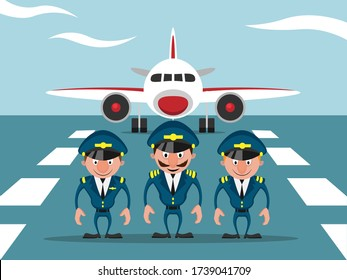 Aircraft crew on the runway