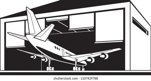 Aircraft enter hangar at airport - vector illustration