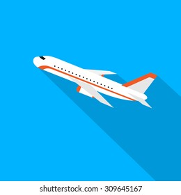 Aircraft Flat Design Style Vector Illustration Airplane Flying With Shadow