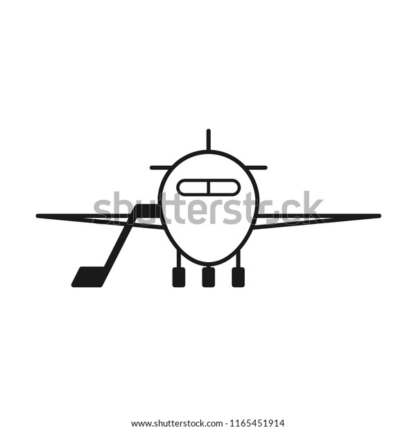 Aircraft Front View Outline Icon Clipart Stock Vector Royalty