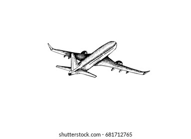 Aircraft, graphic hand drawn illustration isolated on white background