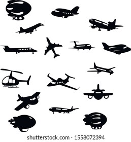 Aircraft,  helicopter,  airship vector ink isolated illustration on white background . Concept for print, logo, icon