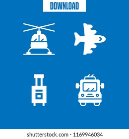 aircraft icon. 4 aircraft vector set. aeroplane, helicopter, trolleybus and luggage icons for web and design about aircraft theme