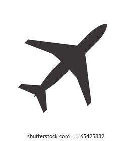 Aircraft icon. Element of travel icon for mobile concept and web apps. Transportation, flight, travel, fly concept. Plane symbol. Flat vector illustration in black on white background.
