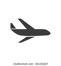 Aircraft icon. Flat vector illustration in black on white background.