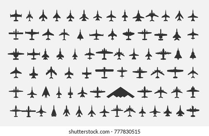 Aircraft icons set. Vector illustration.