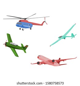 Aircraft Illustrations set vector: Helicopter, Warbird, Glider, and Jet Airliner - flat design style