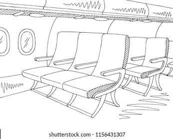 Aircraft interior graphic black white sketch illustration vector