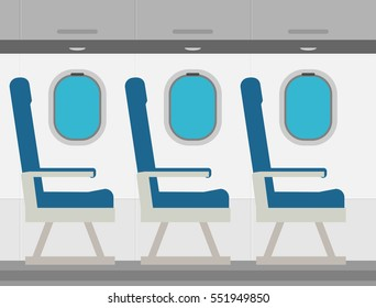 Aircraft interior with windows and seats, colorful flat vector illustration