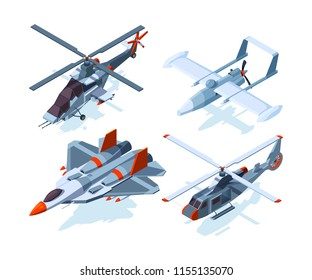 Aircraft isometric. Warplanes isolate on white. Vector airplane and helicopter isometric, 3d armed bomber and interceptor illustration