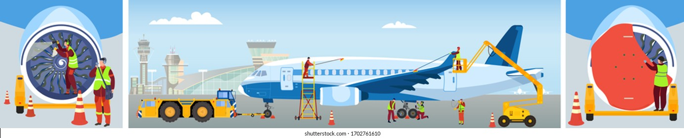 Aircraft maintenance, people clean plane at airport, professional technician team work, vector illustration. Airplane maintenance and safety control check, inspection and repair service industry job